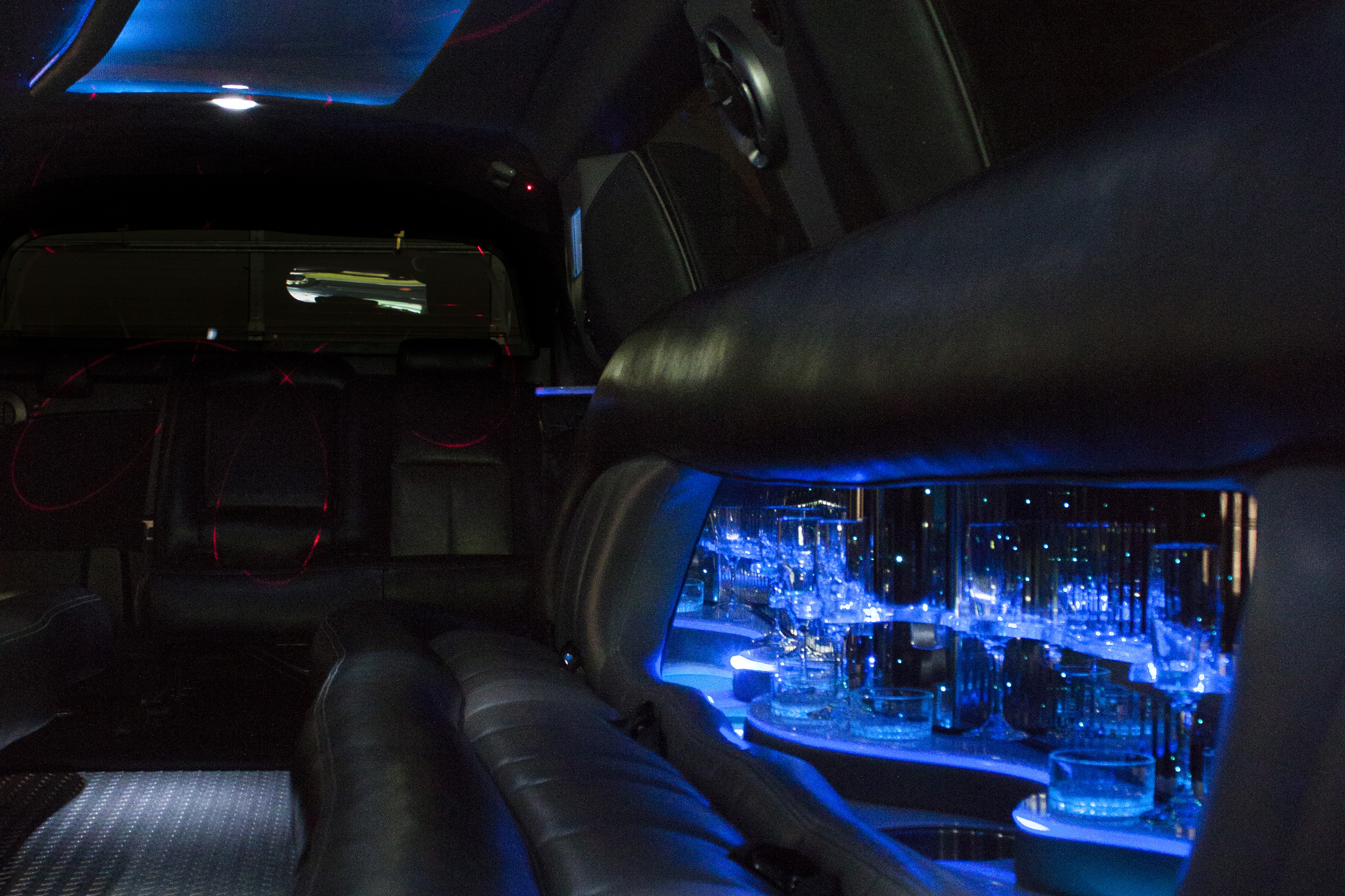 interior of escalade limousine